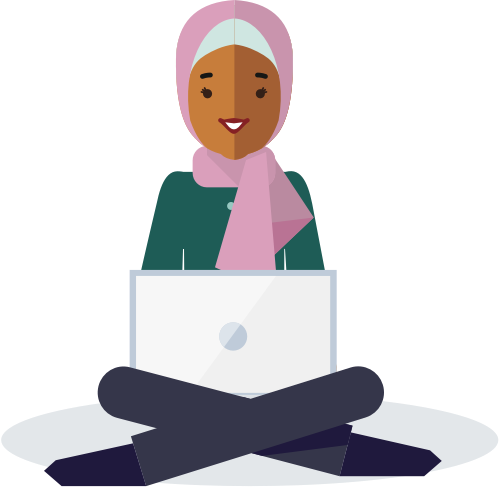 Programming person with notebook