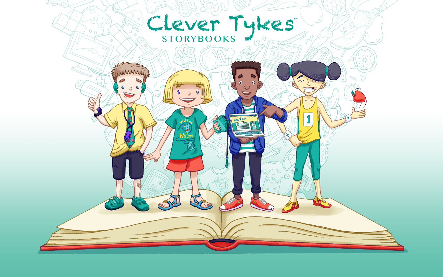 Clever Tykes characters on a book