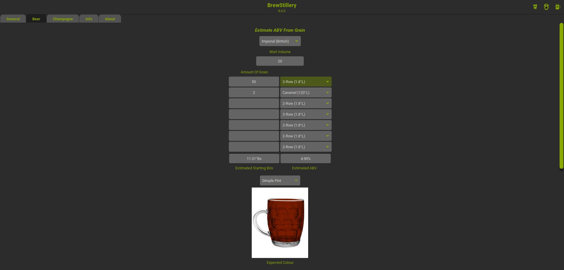 BrewStillery Beer Tab Full Glass
